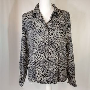Talbots Petites Silk Blouse Top Black Gray Sz 12